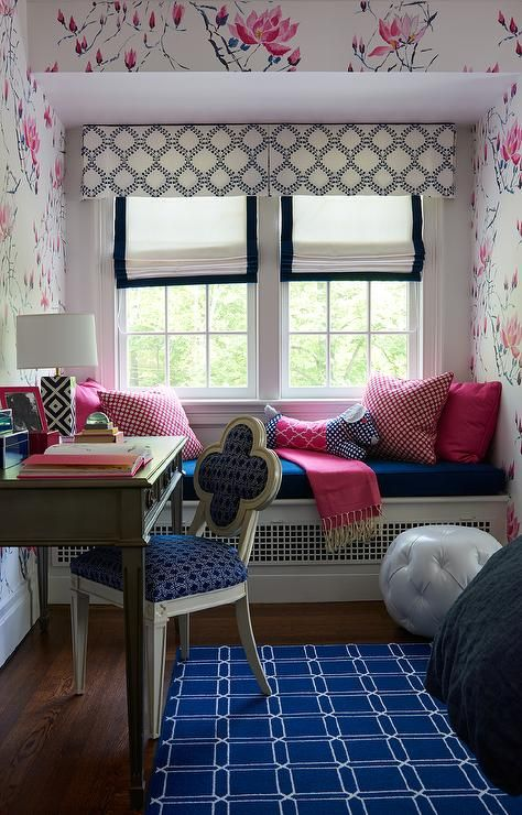 Pink And Blue Girl S Room Boasts A White Built In Window