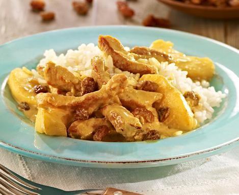 Geschnetzeltes vom Schwein mit einer fruchtigen Curry-Soße
