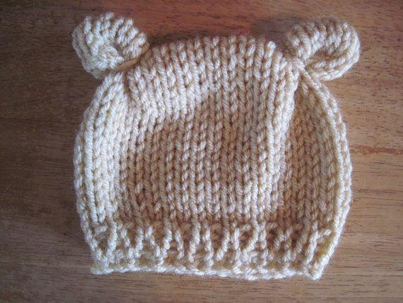 knit Baby bear ears hat - cream - newborn - READY TO SHIP - newborn photo prop - baby boy baby girl beanie