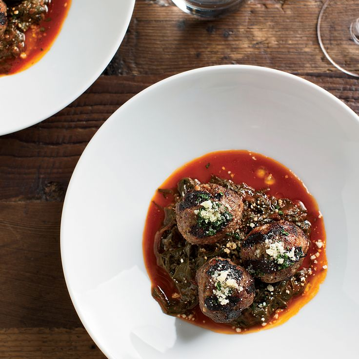 Beef-Ricotta Meatballs with Braised Beet Greens | Food & Wine