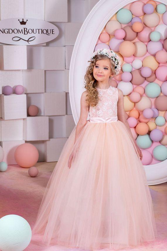 Blush Flower Girl Dress Birthday Bridesmaid by KingdomBoutiqueUA