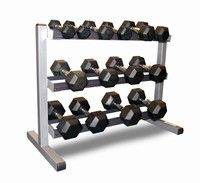 Bodypower3 Tier Rack & 2,4,6,8,10,12.5 & 15Kg Rubber Hex Dumbbell Set - click to enlarge