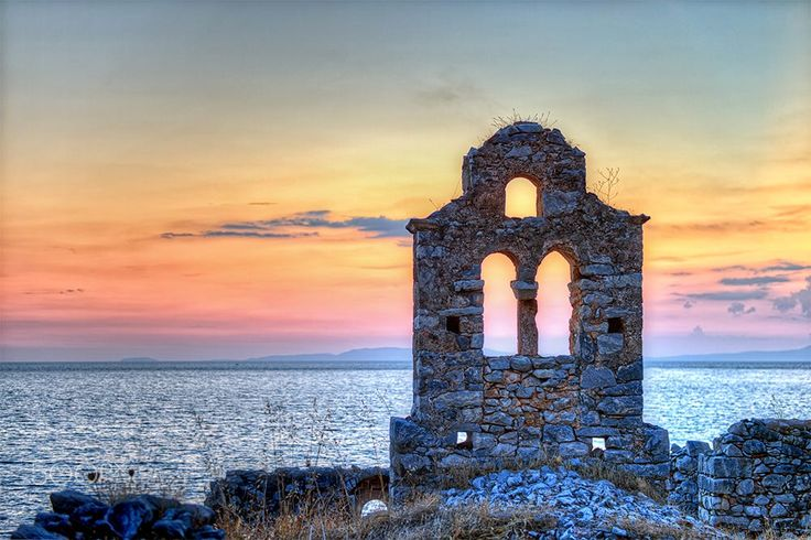 The ruined church of Panagia Vrettos , Limeni Mani . It is a seaside village of the prettiest and most traditional villages.