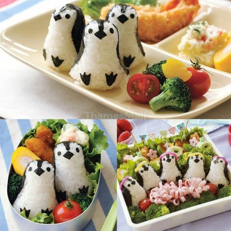 Penguin Shape Sushi Rice Ball Mold Onigiri Mould with Nori Punch DIY Lunch Bento
