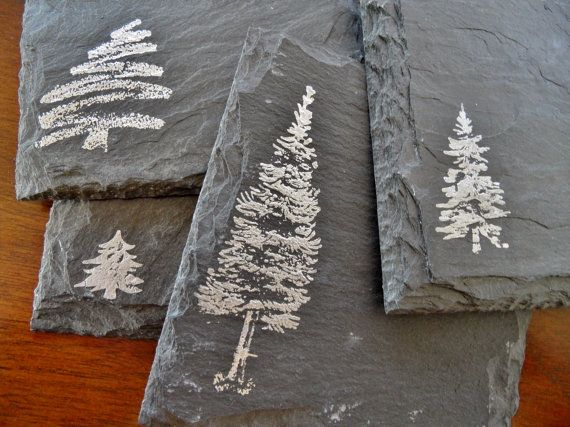 Winter Trees Slate Coasters Set of 4  by ScatteredTreasures, $20.00