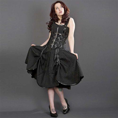 Dominatrix punk rock korset jurk zwart/wit gestreept - Victorian burlesque