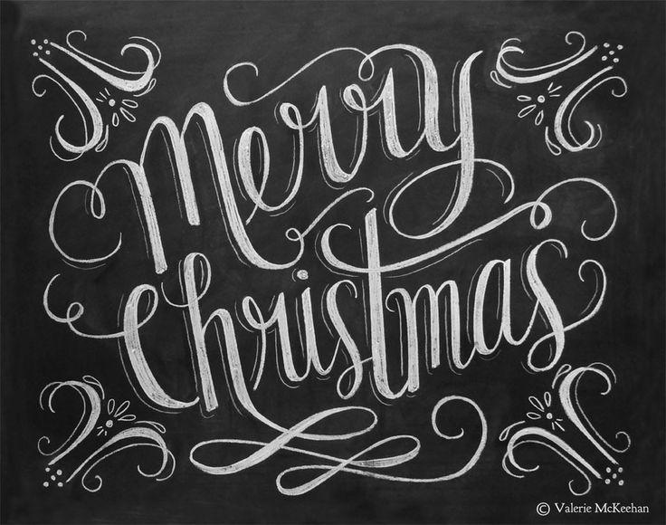 Lily & Val – Merry Christmas Print - Chalkboard Christmas Decor ...