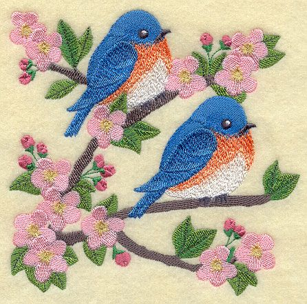 Blue birds in blossoms on branch square two or three sizes Machine Embroidery Designs at Embroidery Library! - Color Change - H4327