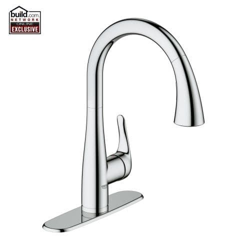 Grohe 30 211 Elberon Transitional Pull-Down Kitchen Faucet Single Handle Single Hole with SilkMove Cartridge & Locking Spray (Bronze Finish)