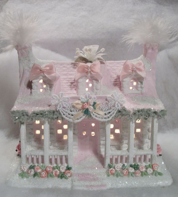 Shabby chic christmas village house shabby glitter for Shabby chic christmas