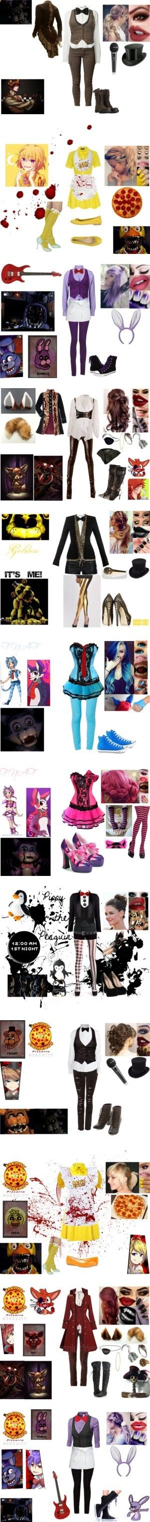 FNAF Sets by nicoleoliviaberry on Polyvore featuring Savannah, T By Alexander Wang, J.TOMSON, Freddy, AllSaints, CABARET, MaxMara, Helen, Anna Sui and Monkee Genes