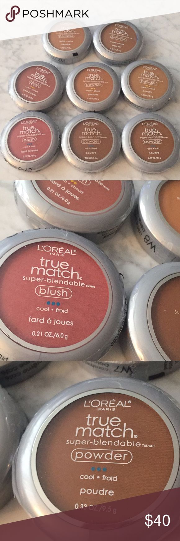NEW - Lot of 8 L'Oreal Powders for dark skin tones NEW - Lot of 8 L'Oreal Powders for Dark Skin tones. All brand new, never opened, in original plastic. 6 of these are powders with Applicators, 2 are powder blush. Colors are between 7-8 in the L'Oreal TrueMatch line, and include Warm, Neutral, and Cool tones. Colors are blushes W7-8 and C7-8, and powders C7, C8, W7, W8, N7 and N8.  Great for makeup artists looking for a range of shades. I have similar listings for light, medium and darker…