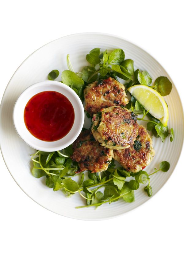 Chilli and ginger crab cakes with watercress