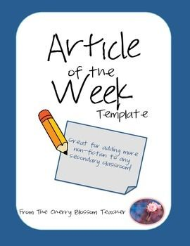 The Article of the Week template was inspired by Kelly Gallagher and his book Readicide: How Schools Are Killing Reading and What You Can Do About It.Articles of the Week can be a great way to incorporate more Non-Fiction into any secondary classroom.