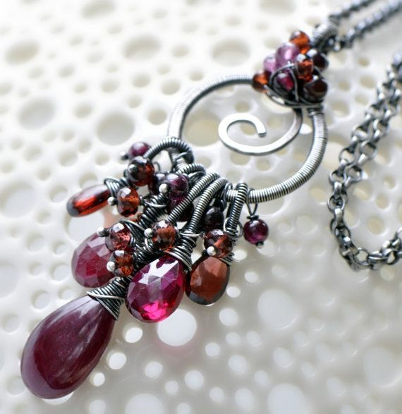 Wire wrapped fringe pendant