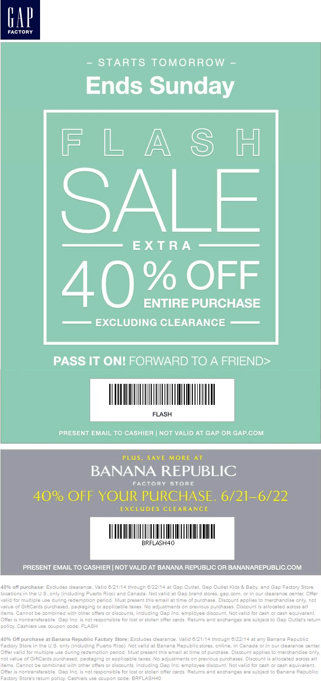 Pinned june 22nd extra 40 off today at gap banana republic factory