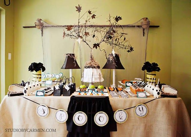 elegant halloween party dessert table karas party ideas the place for all things party