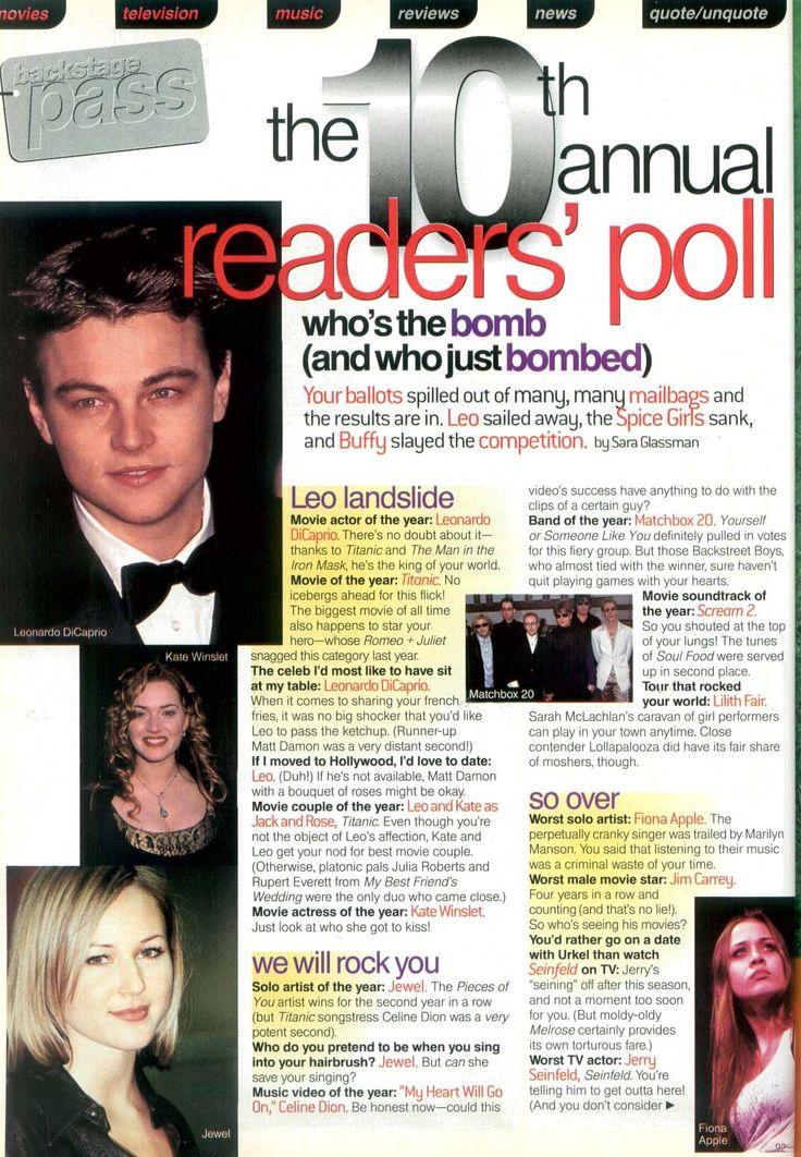 Seventeen July 1998 Leonardo DiCaprio, Rate Winslet, Jewel, Fiona Apple,