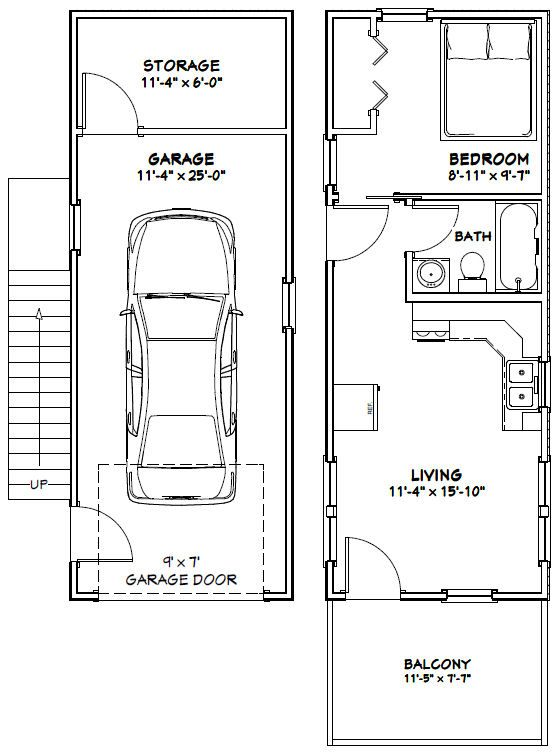 """Sq. Ft: 461 (78 1st, 383 2nd) Building size: 12'-0"""" wide, 40'-0"""" deep (including balcony) Main roof pitch: 8/12 Ridge height: 22' Wall heights: 8'"""