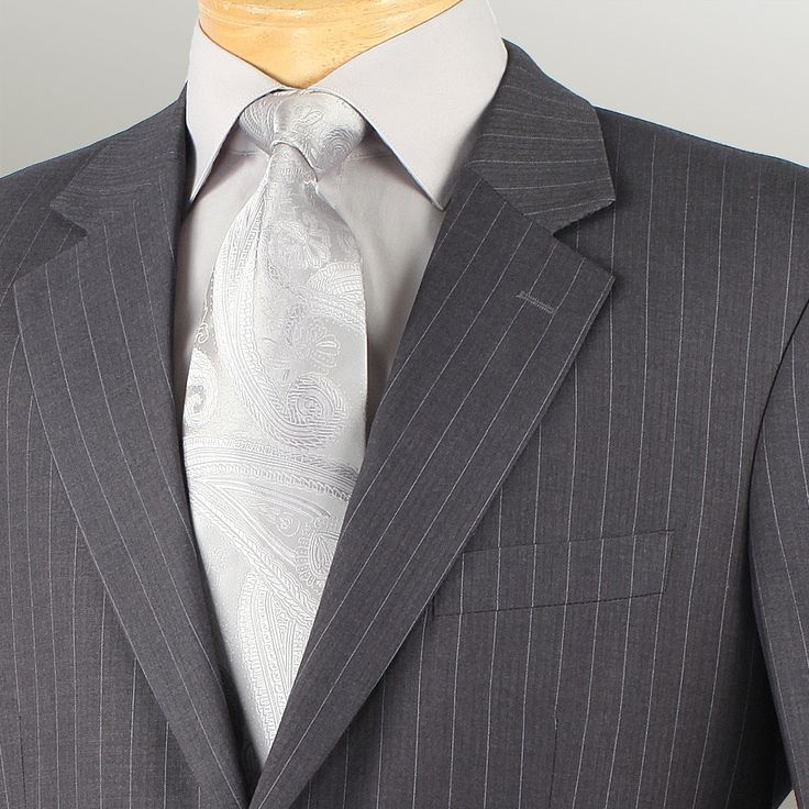 BUSINESS SUITS FOR MEN CLASSIC FIT SUITS 2 BUTTONS FANCY STRIPE IN CHARCOAL NEW