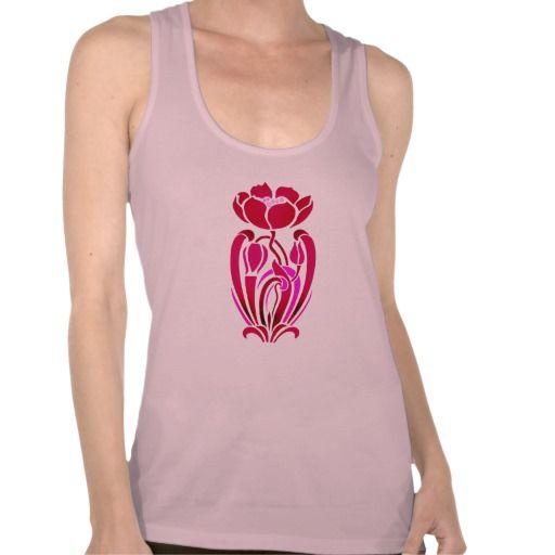 art nouveau pink flowers t shirts #artnouveau #vintage #fashion