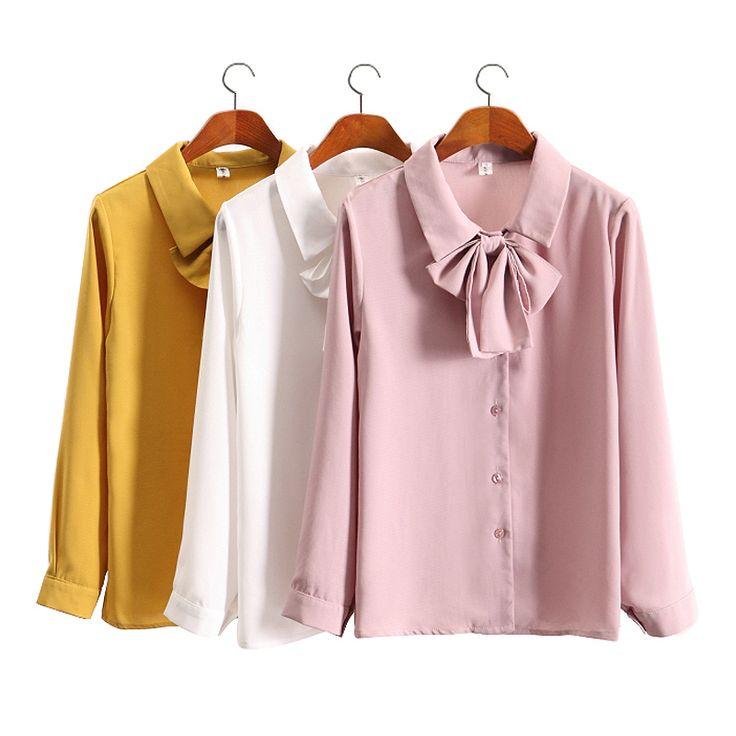Spring summer new 2017 temperament chiffon shirt slim bow-tie chiffon shirts women long sleeve bottoming shirt blouse plus size