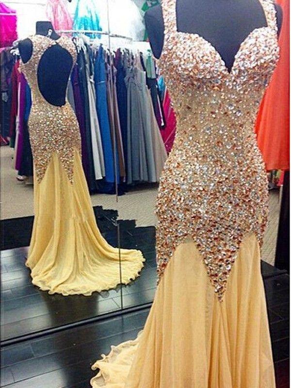Mermaid Beaded Discount Prom Dress, Daffodil Open Back