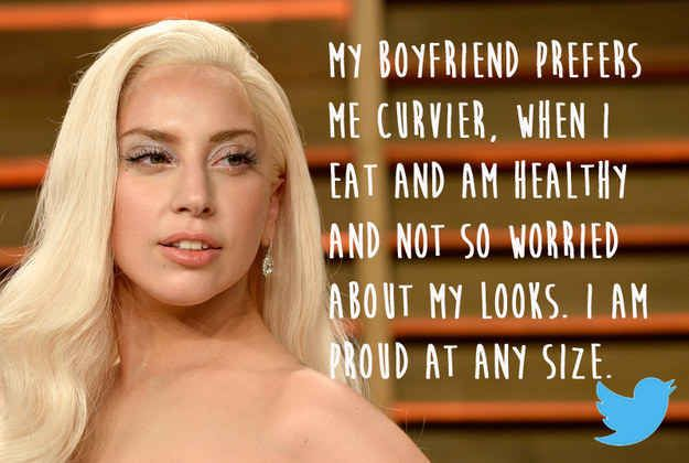 Lady Gaga- read article about 20 different celebrities, and their take on their body image