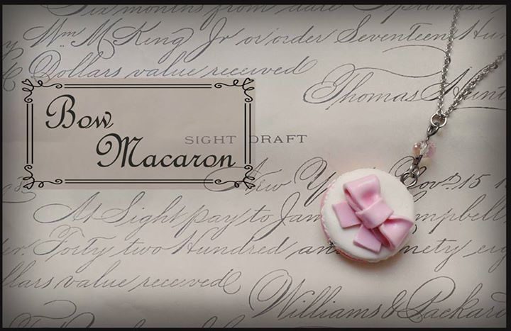 macaron pink bow necklace   miniature polymer clay food jewelry   sweet