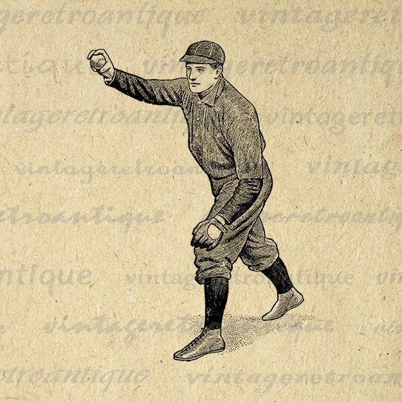 Printable Antique Baseball Pitcher Image Graphic Baseball Player Download Digital Jpg Png Eps 18x18 HQ 300dpi No.4194 @ vintageretroantique.etsy.com #DigitalArt #Printable #Art #VintageRetroAntique #Digital #Clipart #Download