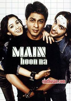 Shahrukh Khan, Sushmita Sen, Sunil Shetty, Zayed Khan and Amrita Rao. Directed by Farah Khan. Music by Anu Malik. 2004 Main Hoon Na