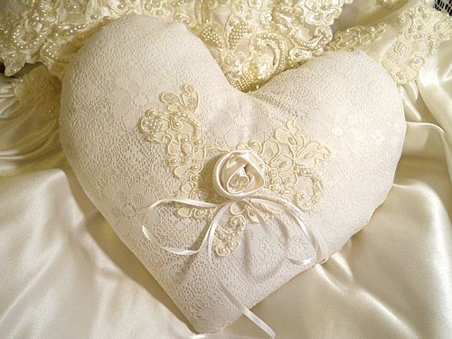 Beautiful Victorian Heart Shaped Vintage Ring Bearer Pillow, handmade of vintage fabrics and lace $29.95