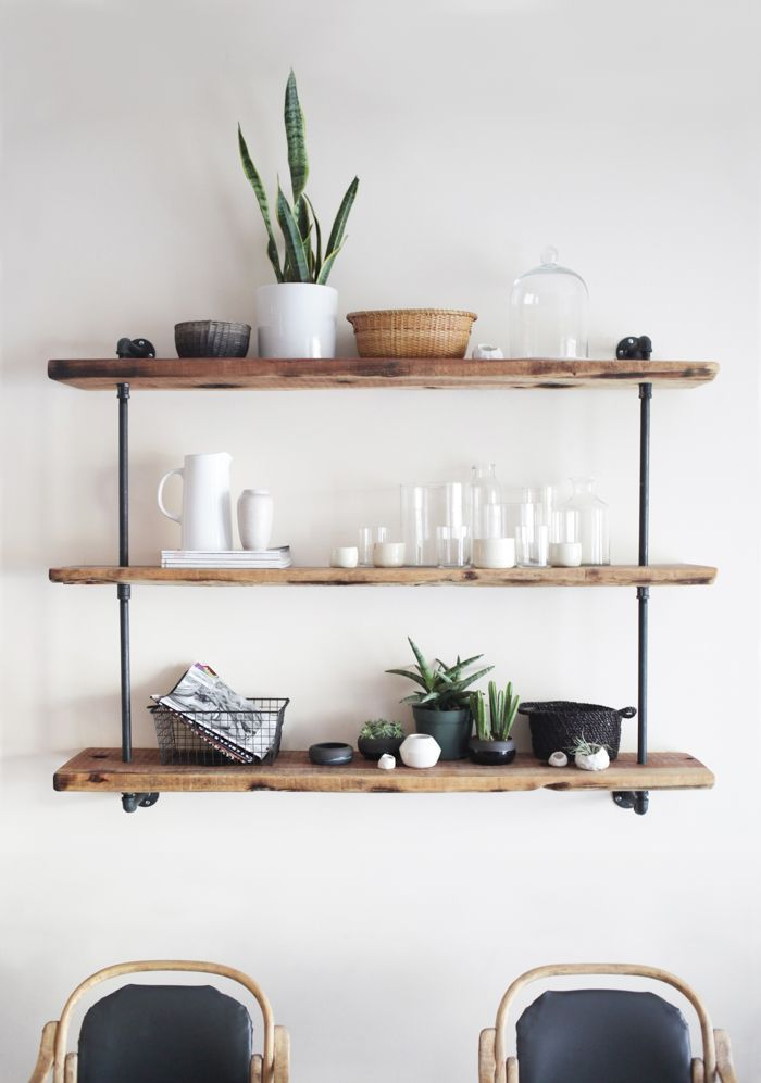Galvanized Pipe Shelves in dining room | Keep shelves in muted wooden tones with spare accessories for the ...