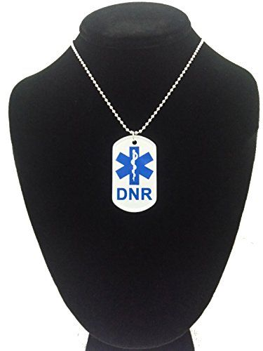 """DNR Do Not Resuscitate Dog tag Necklace w/Chain By Atomic Market. One Tag Is Included. The tag is double sided, it is a front and back view. The tag is made of Aluminum and is 2"""" x 1"""" in size. Item includes a 24"""" nickel plated ball chain. Ball Chain can be cut to make this necklace a key chain. same front and back. Manufactured By Atomic Market."""