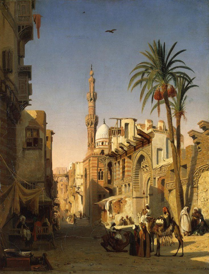Elizbekia Street, Cairo by Prosper Georges Antoine Marilhat French, 1811-1847 Oil On Canvas
