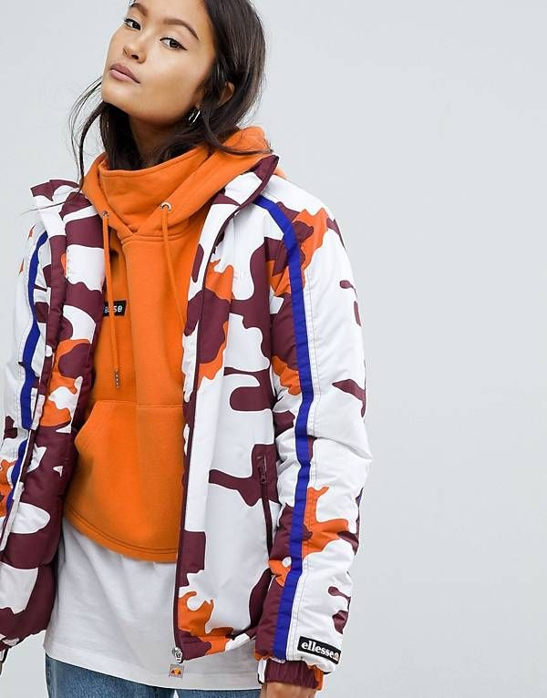 2a8384abfc Ellesse High Neck Coat In Camo | clothes i want in 2019 | Jackets ...