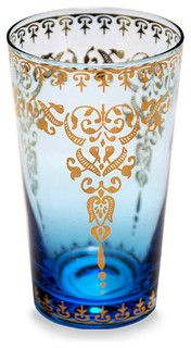 Moroccan Glass Azure - Large - transitional - cups and glassware - by Bliss Home & Design