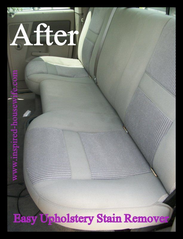 Easy Upholstery Stain Remover. 1 cup Dawn blue dish soap 1 cup white vinegar 1 cup club soda A heavy duty spray bottle A scrub brush --- must try in BOTH our cars!