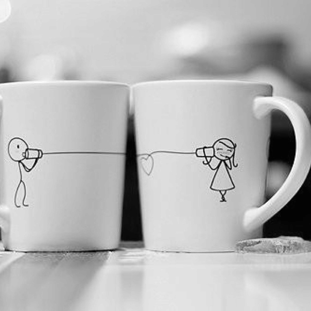 Long distance love mugs... Kind of want to build a soup can telephone now...