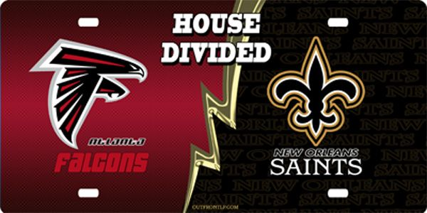 Falcons - Saints House Divided License Plate License Plate, Falcons - Saints House Divided License Plate License Tag