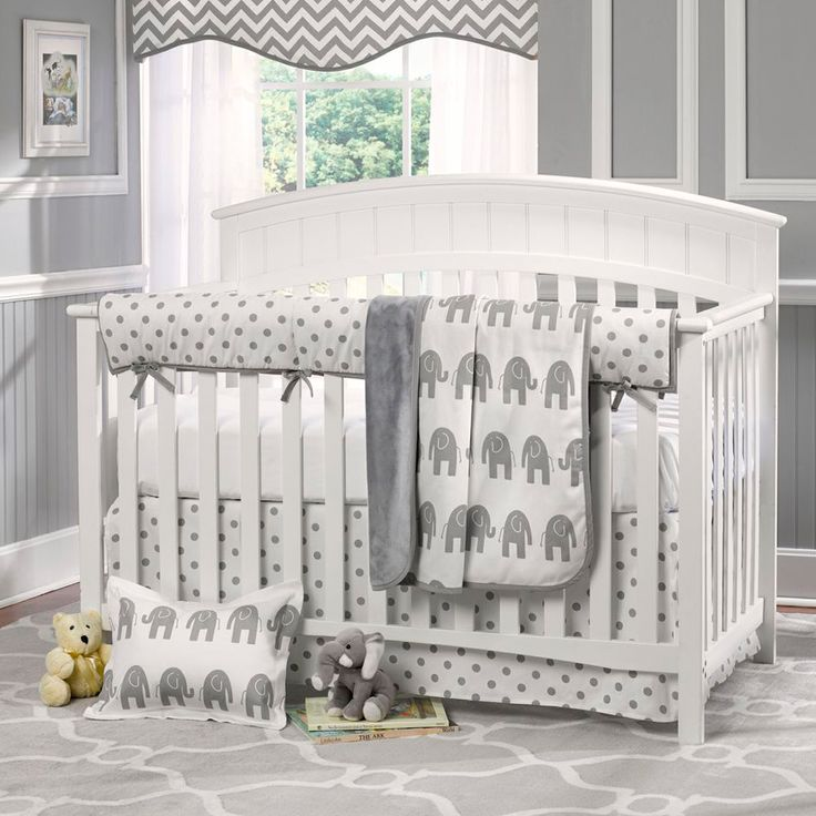Cute Elephant Themed Nursery. Love The Grey Walls With The White Borders  Looks Really Nice. Elephant Baby BeddingGrey ...