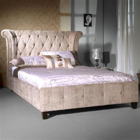 Epsilon Double Velvet Bed Frame, Mink, Choose Set