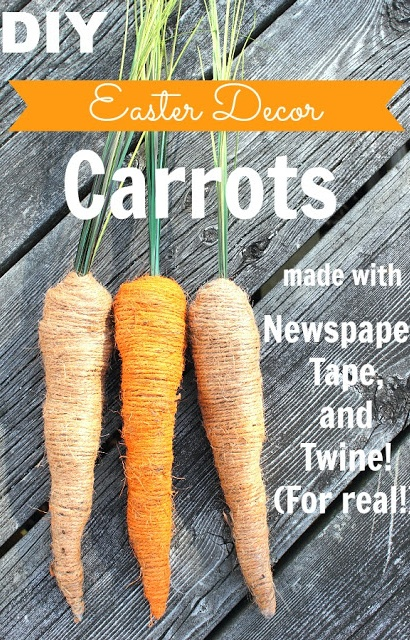 DIY and almost free! Super cute Easter carrot decor made from newspaper, tape, and twine!