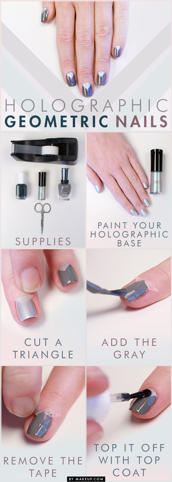 Time to try out a new manicure - one that involves geometry! As far as manicure math goes, we know this: geometric shapes + new, fall nail colors = need-to-have nails. For this nail art tutorial you'll need: gray nail polish, Armani nail lacquer in Kaleidoscope scissors, tape, and top coat.