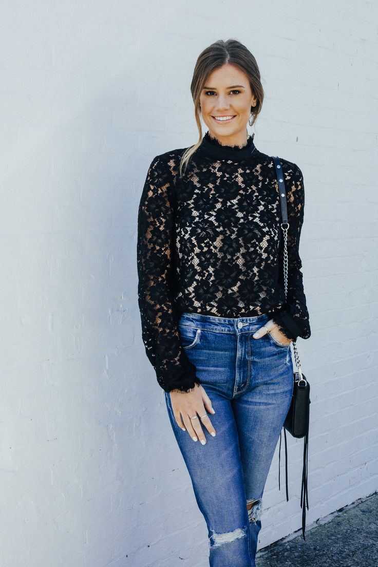 Black Lace Top and Denim