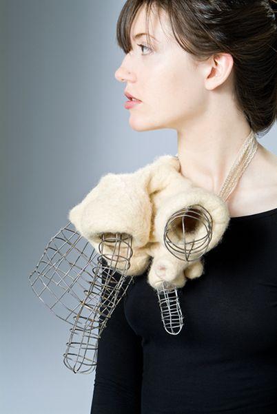 "Uncanny Objects | Nikky Bergman Custom Contemporary Jewelry - ""Anti-body,"" wool felt, steel, elastic, silver 9""x9""x5"", 2008"