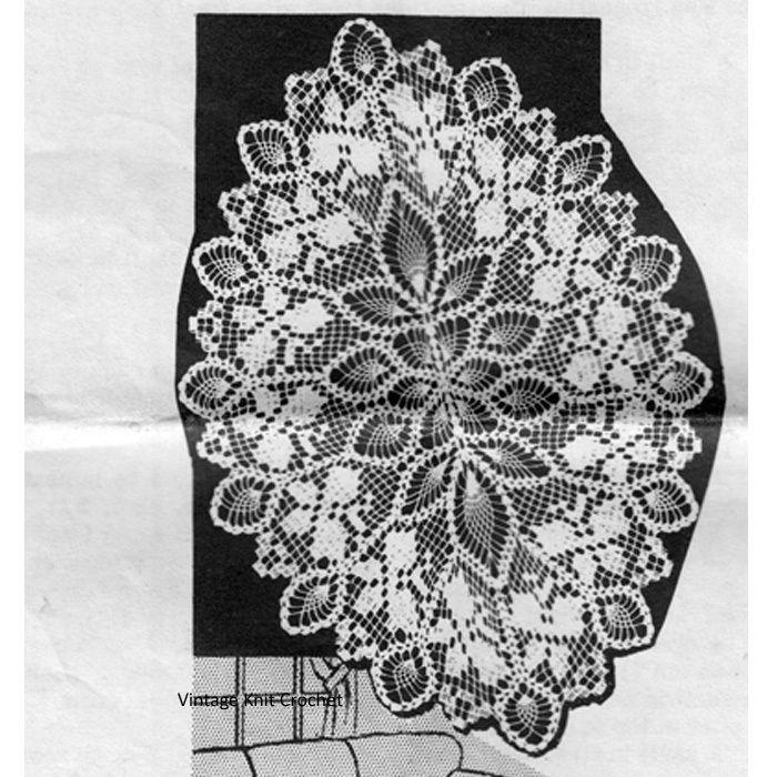 Filet Crochet Pineapple Oval Doily Crochet Pattern