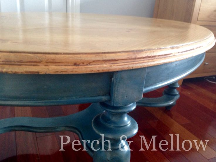 Aubusson blue, brushed with French linen, clear and dark wax.