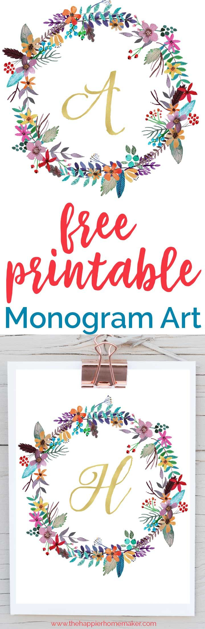 Beautiful free printable monogram art for your home-these would be so pretty in…