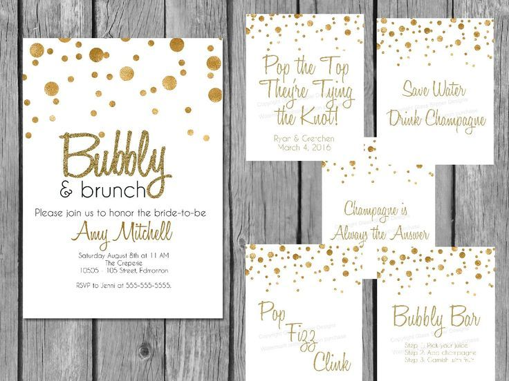 Printable white and gold champagne bridal shower bundle - great deal and it all coordinates! Love it.